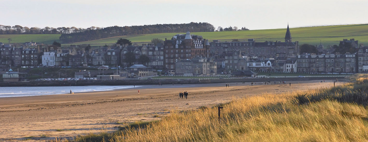 St Andrews West Sands beach and town skyline